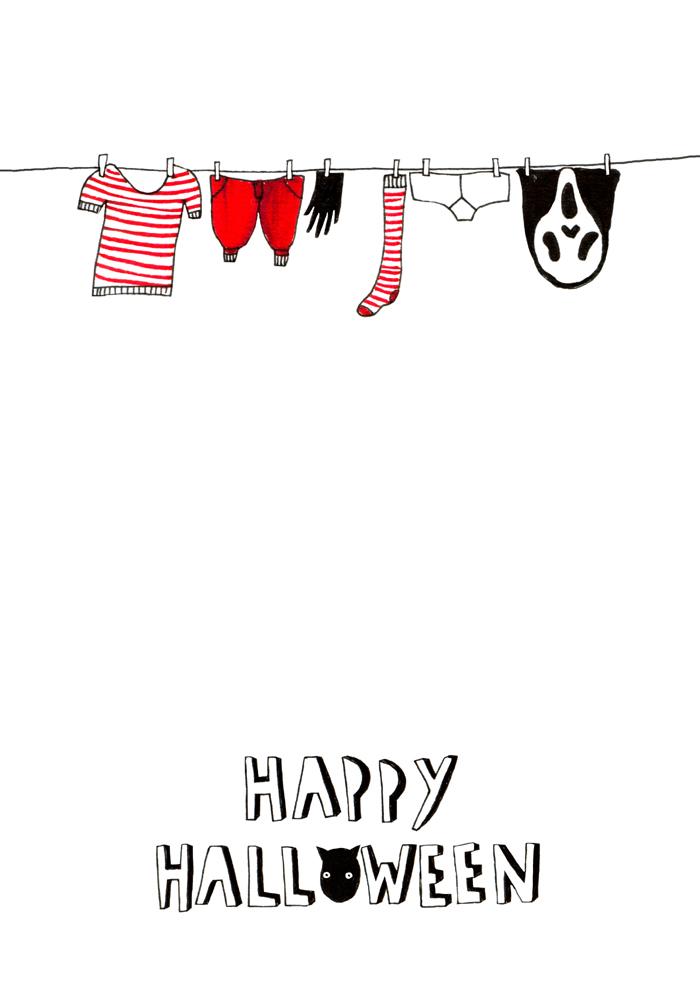 Halloween washing line card