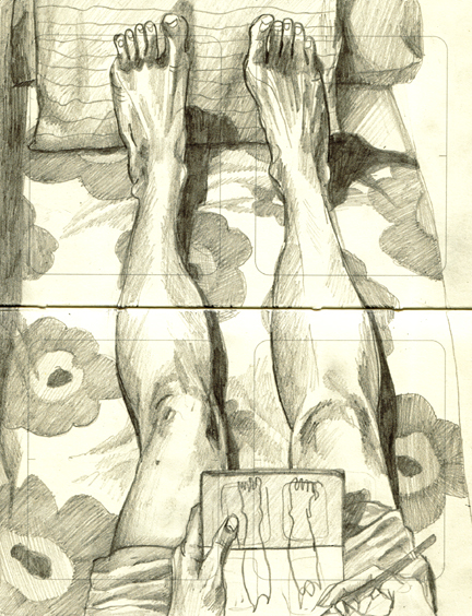 Legs on Marimekko pencil drawing by Heidi Burton
