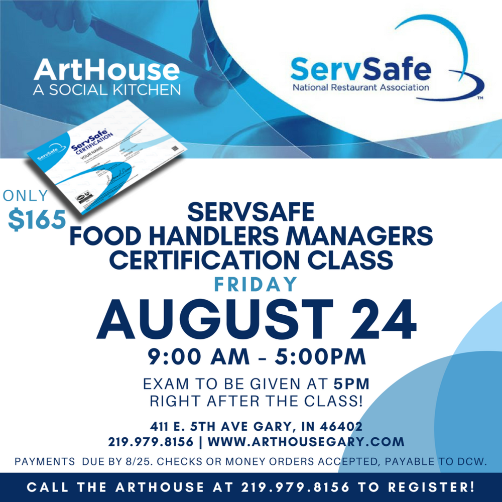 Arthouse Servsafe Food Handlers Managers Certification Class