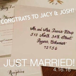 Best wishes to the newest Sooner Calligraphy, Etc. couple!
