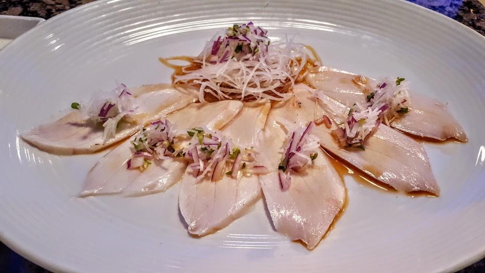 white tuna carpaccio italian japanese fusion