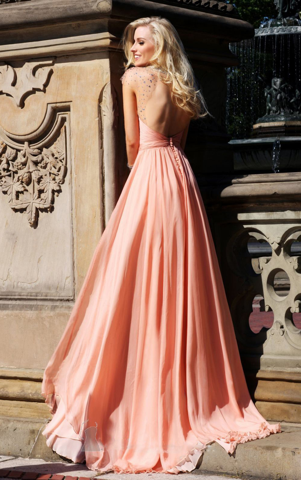 peach dress back