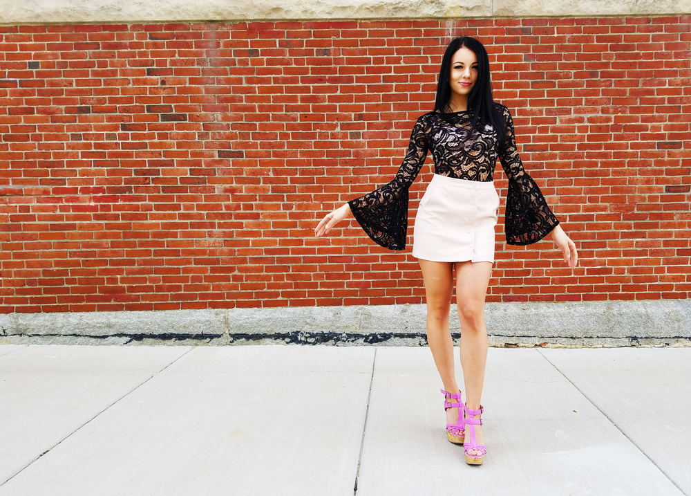 belle shape bodysuit lace top leather pink skirt lavender heels blogger boston