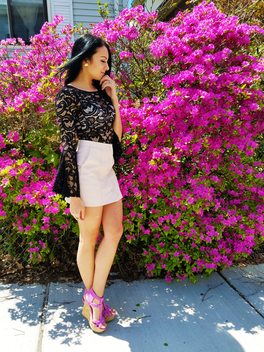 lace top lavender heels blogger fashion trend belle shape sleeves bodysuit leather skirt boston
