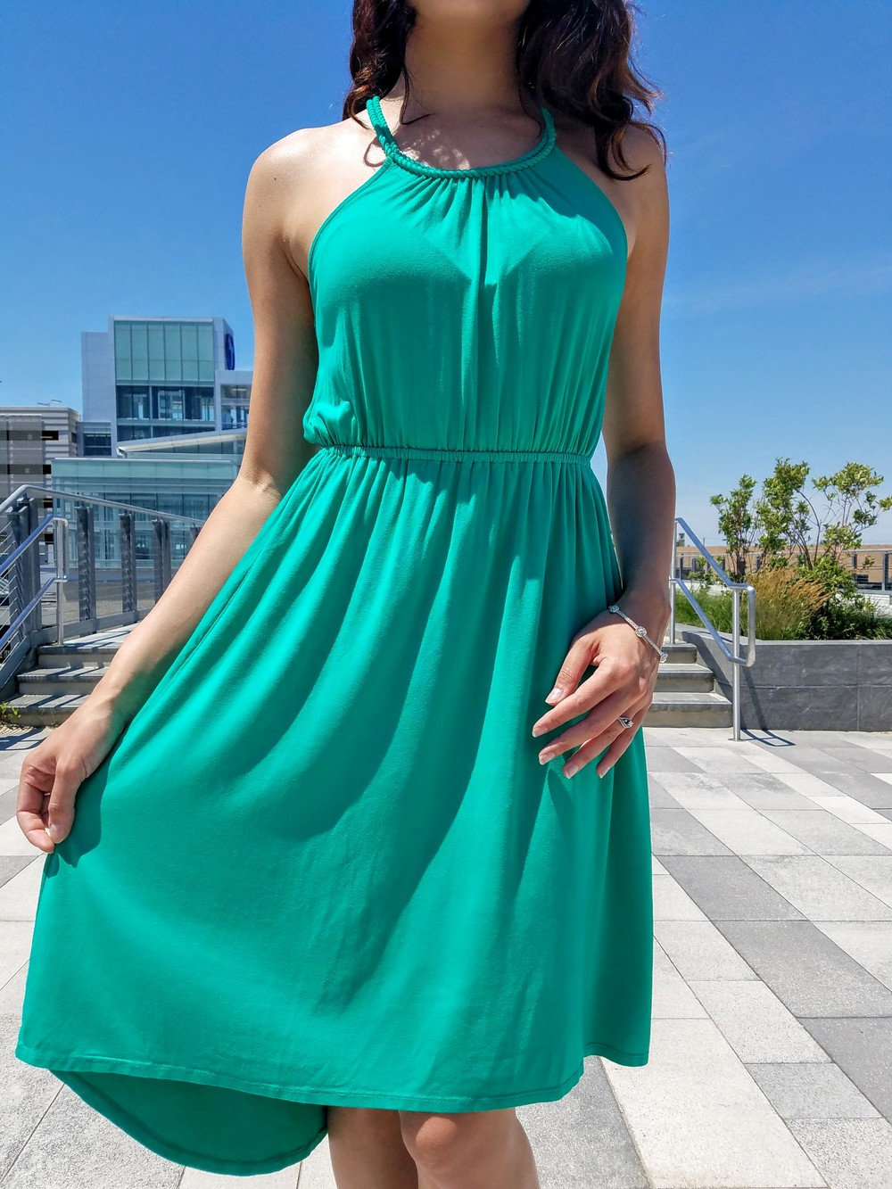 green dress, summer dress, flowy dress, black sandal heels, beautiful weather, summer