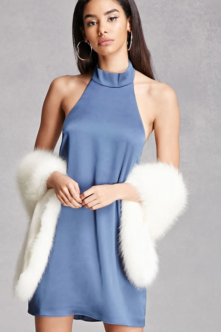satin halter neck dress forever 21