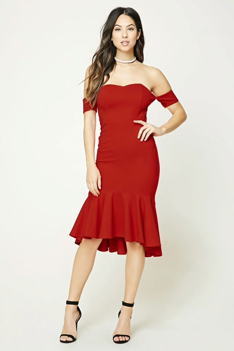 red strapless sweetheart dress forever 21