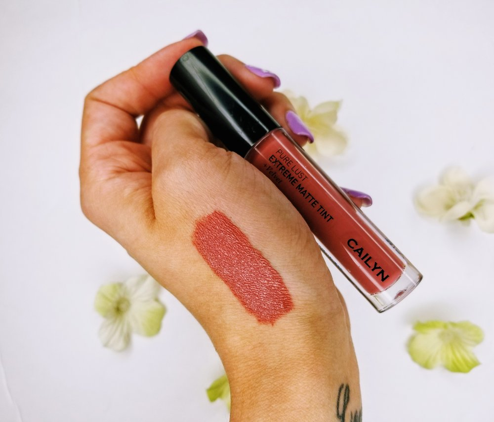 A swatch of Cailyn Cosmetics matte lipstick in cinnamon nude-shade.