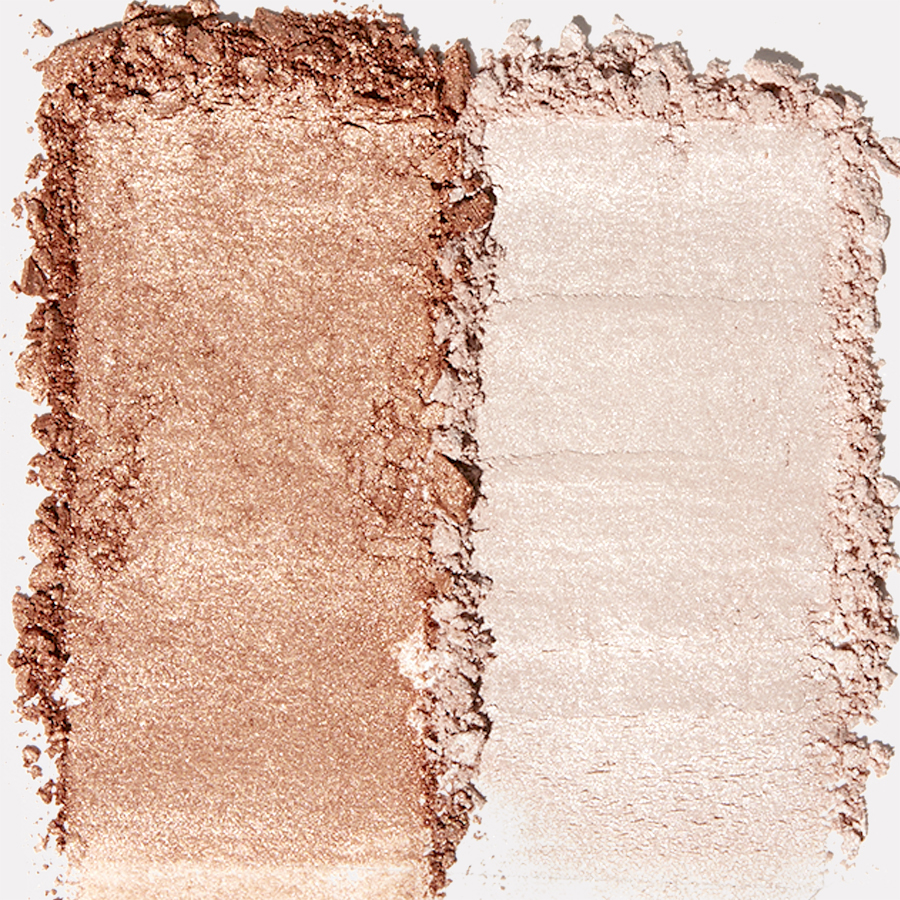 Two shades of Heart Defensor and e.l.f cosmetics highlighter duo.