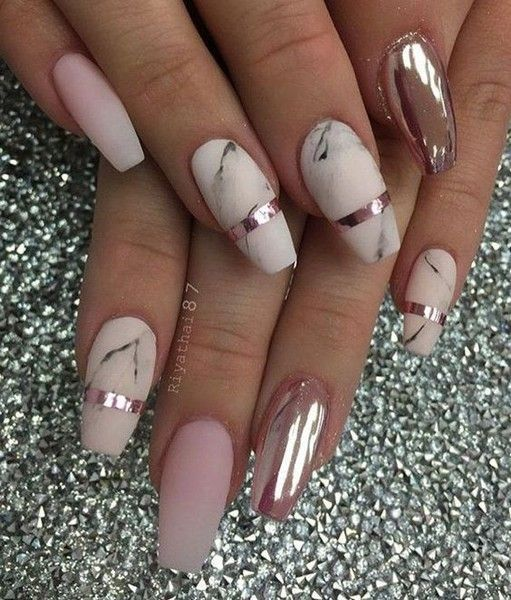 Beautiful marble nail art design.