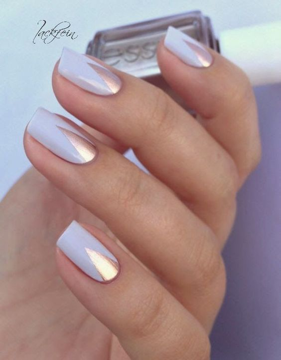 Pretty silver nail polish on the nails for Valentine's Day.