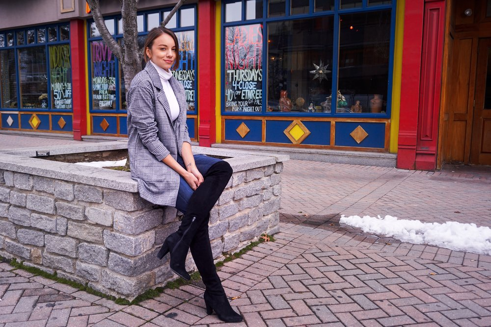 Photo of a blogger wearing a houndstooth blazer, white turtleneck, denim jeans, and black over-the-knee boots.