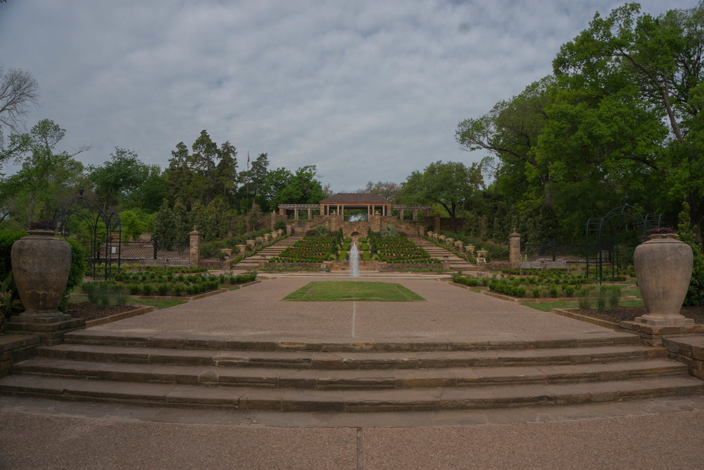 Looking from the reflextion pond to the Lower Rose Garden.