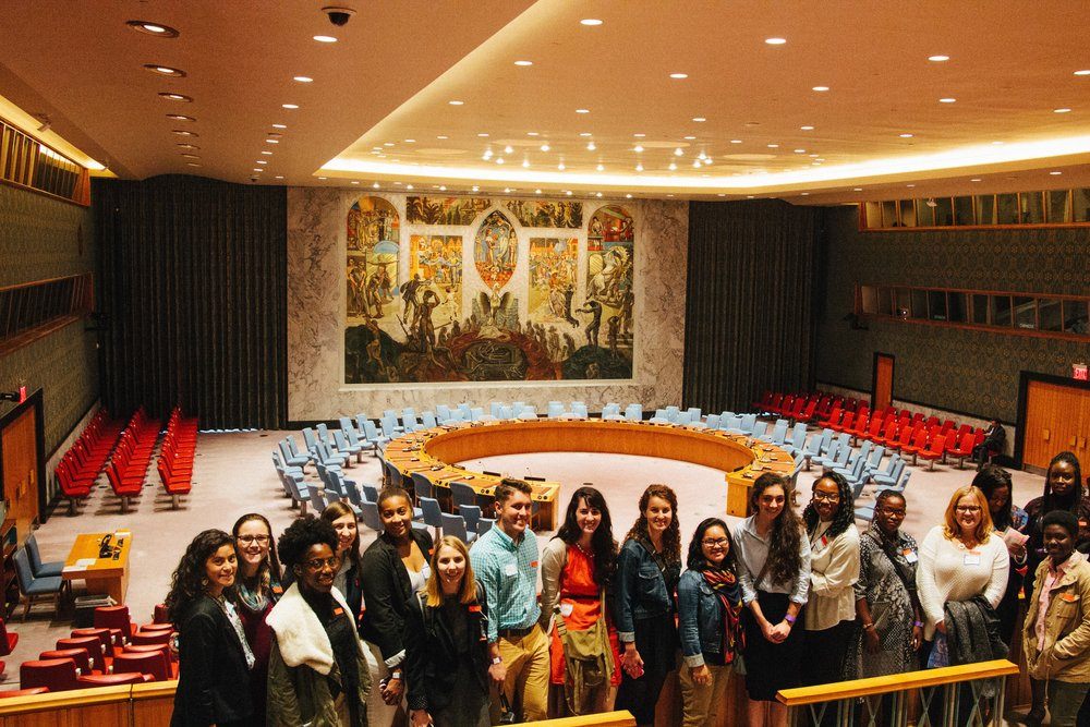 Participants in the MCC UN Student Seminar take a tour of the UN. MCC Photo/ Emma Cabana