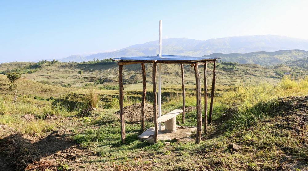 The project's final latrine under construction in Kabay, Haiti. August 2017.