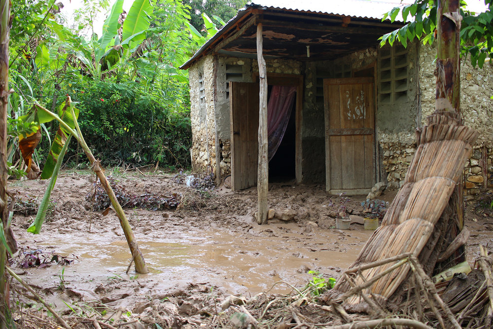 Flooding caused by Hurricane Irma reached almost a third of the way up the walls of Osa Jonmarits' home in Otovan, La Chapelle commune. Floodwaters can be easily contaminated by cholera and other waterborne diseases when poorly constructed latrines overflow in heavy rains.  Photo/Annalee Giesbrecht