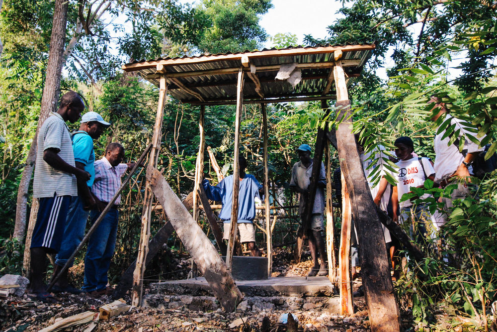 The first latrine in Wopisa as it was nearing completion.