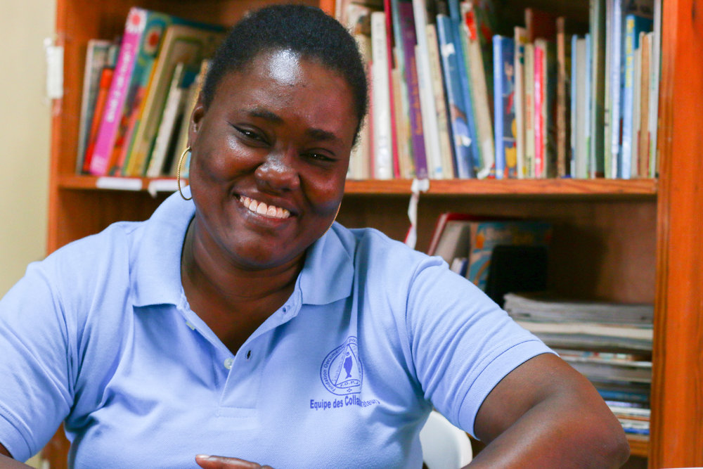 Esther Pierre is the principal at FOPJ (Ecumenical Centre for Peace and Justice), a private primary school and long-time MCC partner in Port-au-Prince, Haiti. MCC photo/Annalee Giesbrecht