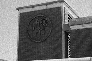 Bienville's disc tattoo is seen in Julian Rayford's 1974 sculpture which hangs on the entrance to the George Wallace tunnel
