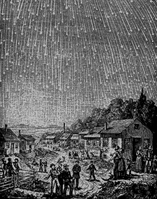 "Illustration of the Leonid meteors in 1833.  The event inspired the title for ""Stars Fell on Alabama"""