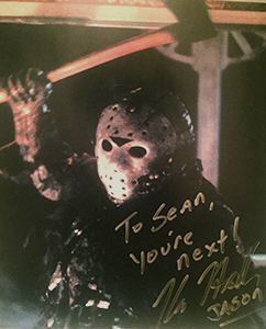 Autographed photo of Kane Hodder from the collection of Sean Herman