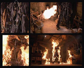 Stills from Friday the 13th, Part VII, which held the record for longest uninterrupted on screen controlled burn in Hollywood history