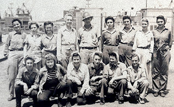 Zaddie Johnson, standing fourth from left and pictured in 1945, was the leader of an all-female welding crew during World War II at the shipyard in Mobile, Alabama. dailymail.com