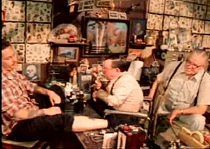 "Still from ""Stoney Knows How"" of Stoney tattooing legendary tattooist Don Ed Hardy (1980)"