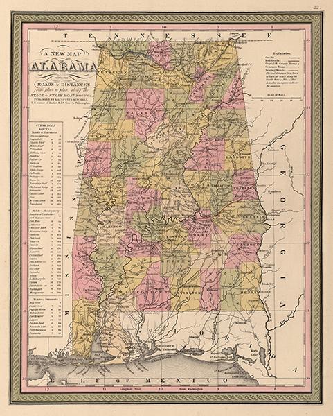 Vintage Map of Alabama