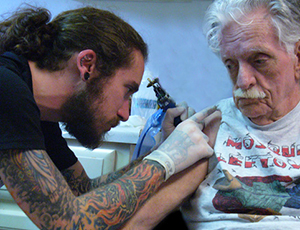 Me tattooing my step father Jack years ago, a very sacred experience for me, especially now after he's passed away