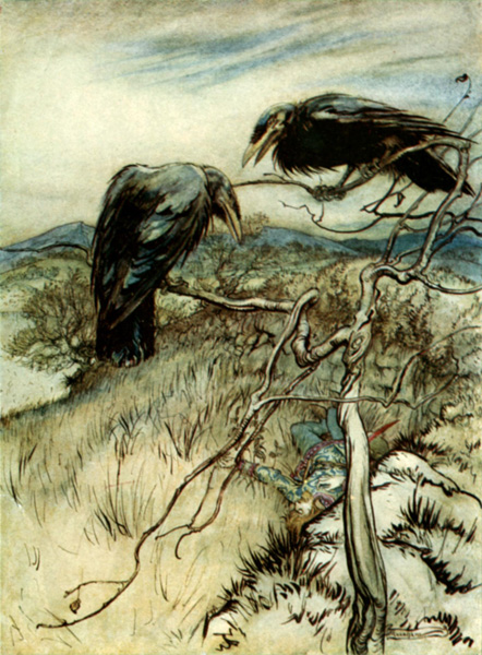 """The Twa Corbies"" Artwork by Arthur Rackham"