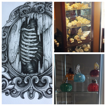 "Some of the things available inside of the Serpents of Bienville Space.  New prints by Sean Herman, Oddities from Aaron Victory and ""Victorious Finds"", and hand blown glass pumpkins by Kerry Parks"