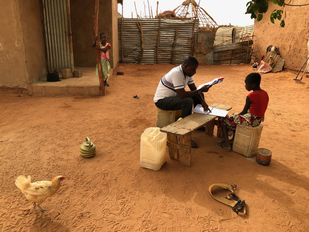 Administering the endline test, Gambia