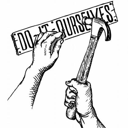 "Lucas's original DIO logo, the fabled ""Arm & Hammer"""