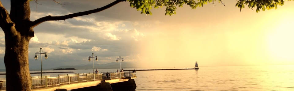 Rain over Lake Champlain