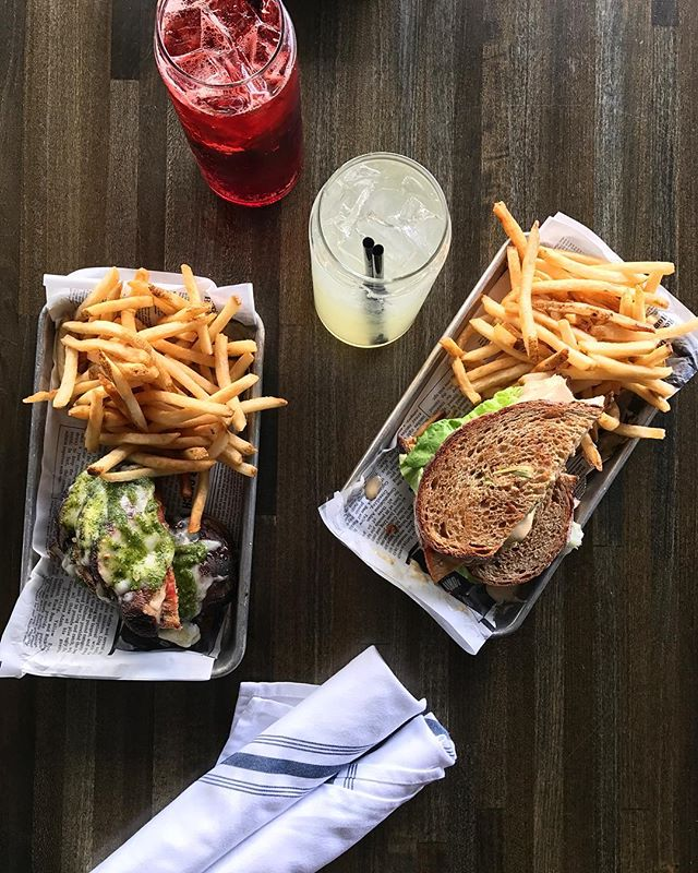New items are on the menu starting now! On the right we have a Roasted Turkey Club with house brined turkey, smoked bacon, and apple butter mayo. On the left a new Veggie Sandwich made with marinated portabella, almond basil pesto, and roma tomatoes.