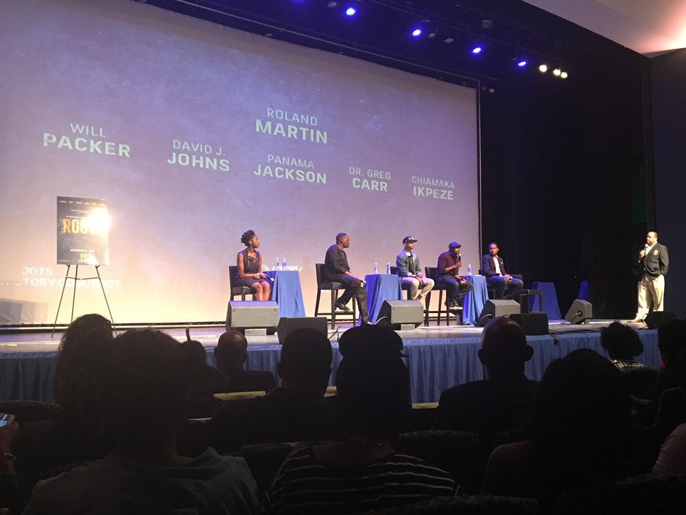 Chiamaka Ipeze, Dr. Greg Carr, Panama Jackson, Will Packer and David J. Johns in Cramton Auditorium at Howard University (pictured L to R)