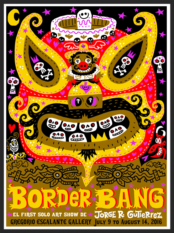 """Border Bang"" Silkscreen show poster, 5-color, edition of 400, 19x25 inches, $40"