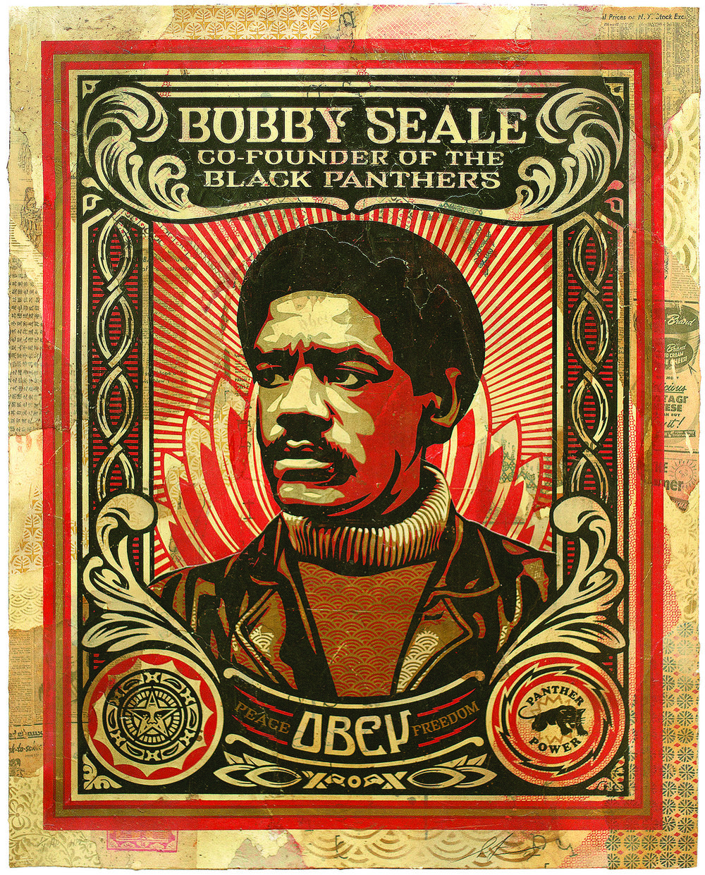 SHEPARD FAIREY | BOBBY SEALE, 2004 | Silkscreen and Mixed Media Collage on Paper, HPM 36 x 46 in