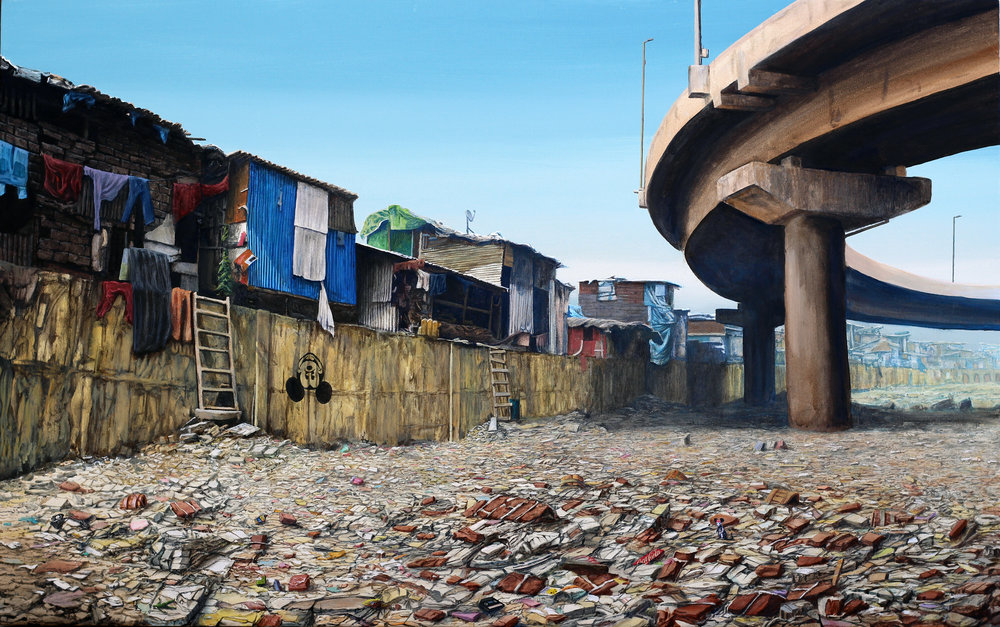 "Jeff Gillette | Bandra Mickey Flyover | 2017, Acrylic and collage on canvas, 30"" x 48"""