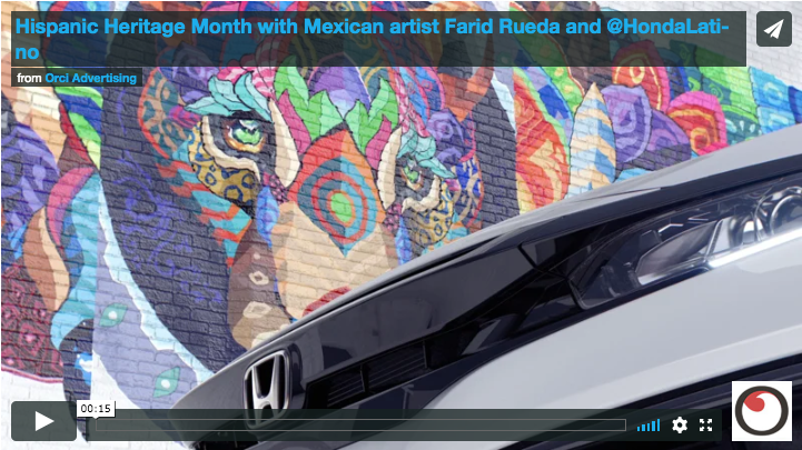 Multicultural agency Orcí partnered with Mexican street artist  Farid Rueda  as part of a social media campaign celebrating National Hispanic Heritage Month for Honda.