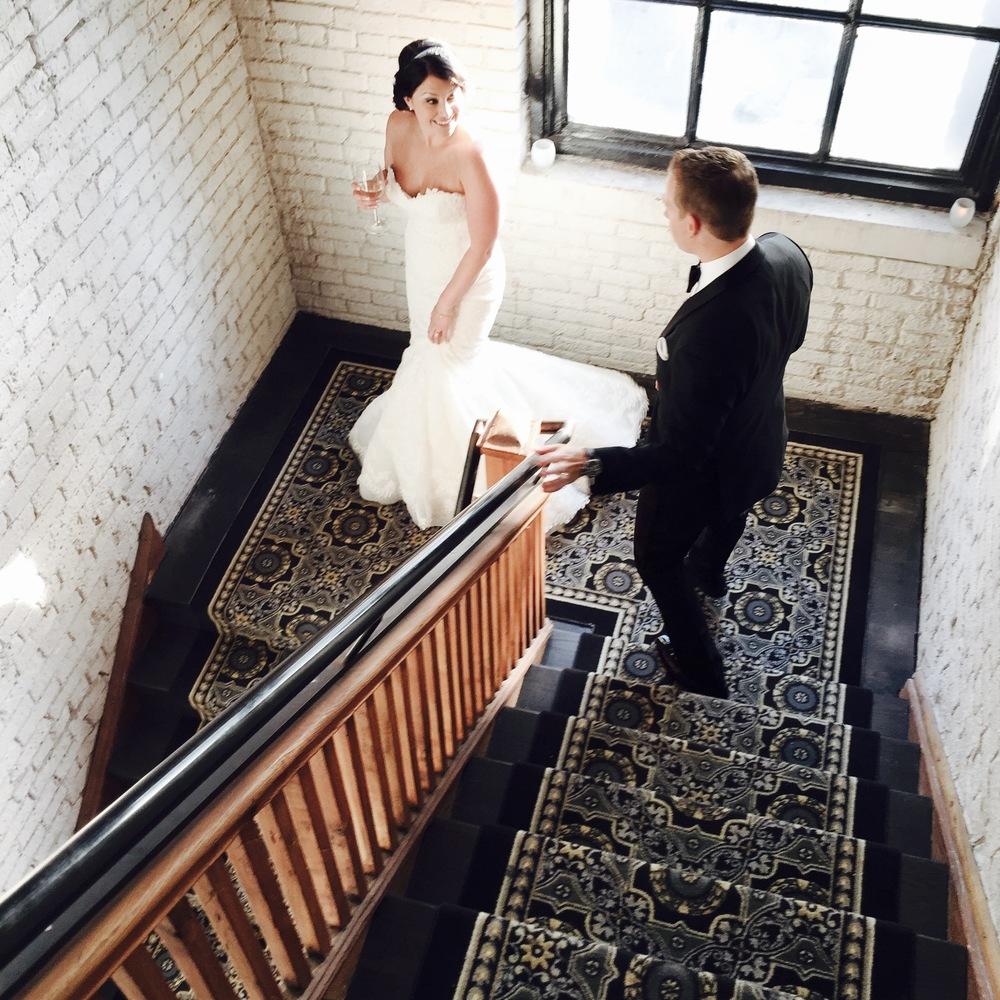 Big Love Wedding Design - Beautiful bride and groom in stairwell