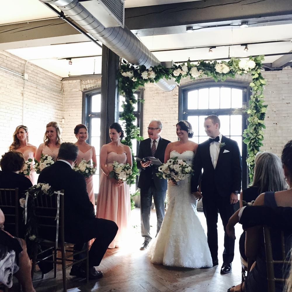 Big Love Wedding Design - Hanging ceremony greenery garland, Blush and Gold