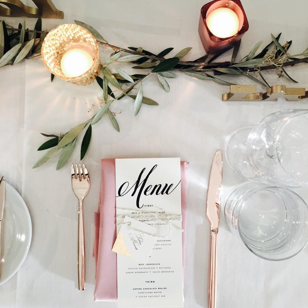 Big Love Wedding Design - Blush and rose gold cutlery tablsetting