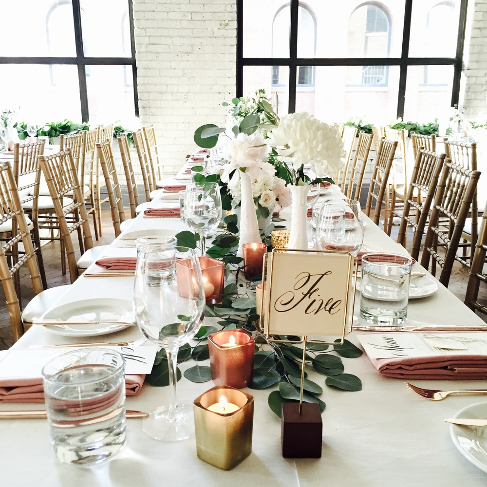 Big Love Wedding Design - Blush, gold and rose gold tablescape with rose gold cutlery