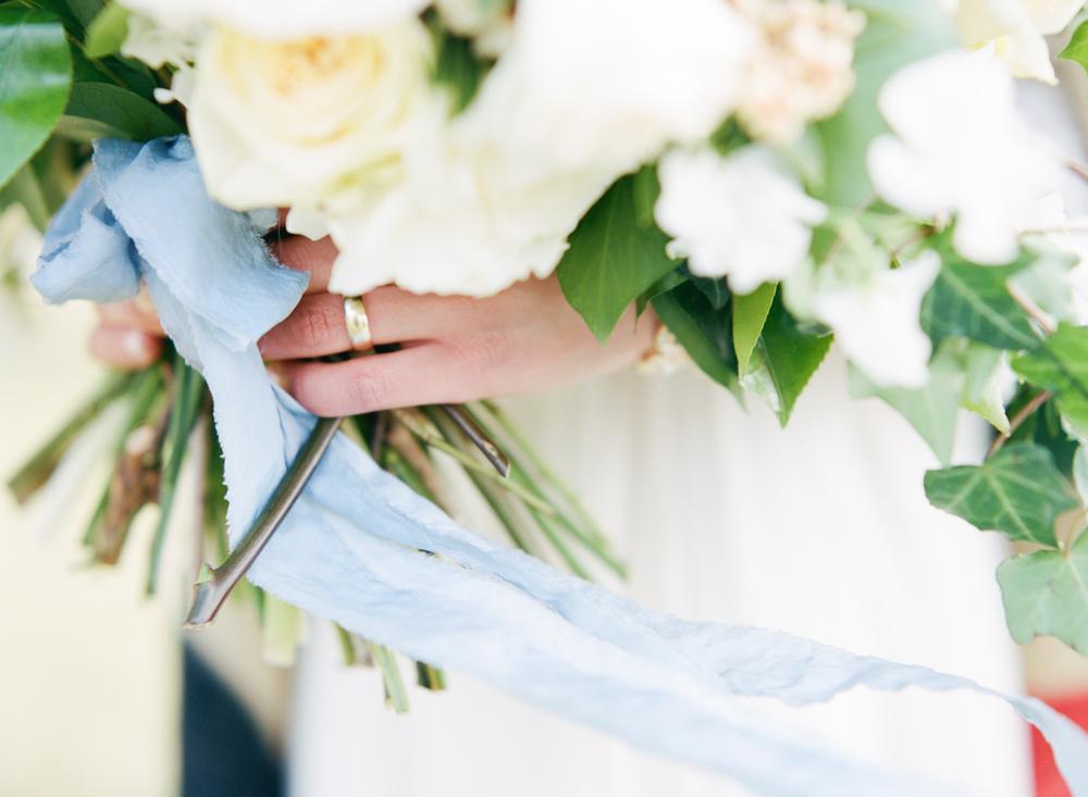 Big Love Wedding Design, loose garden bouquet, blue ribbon, Toronto Vow Renewal