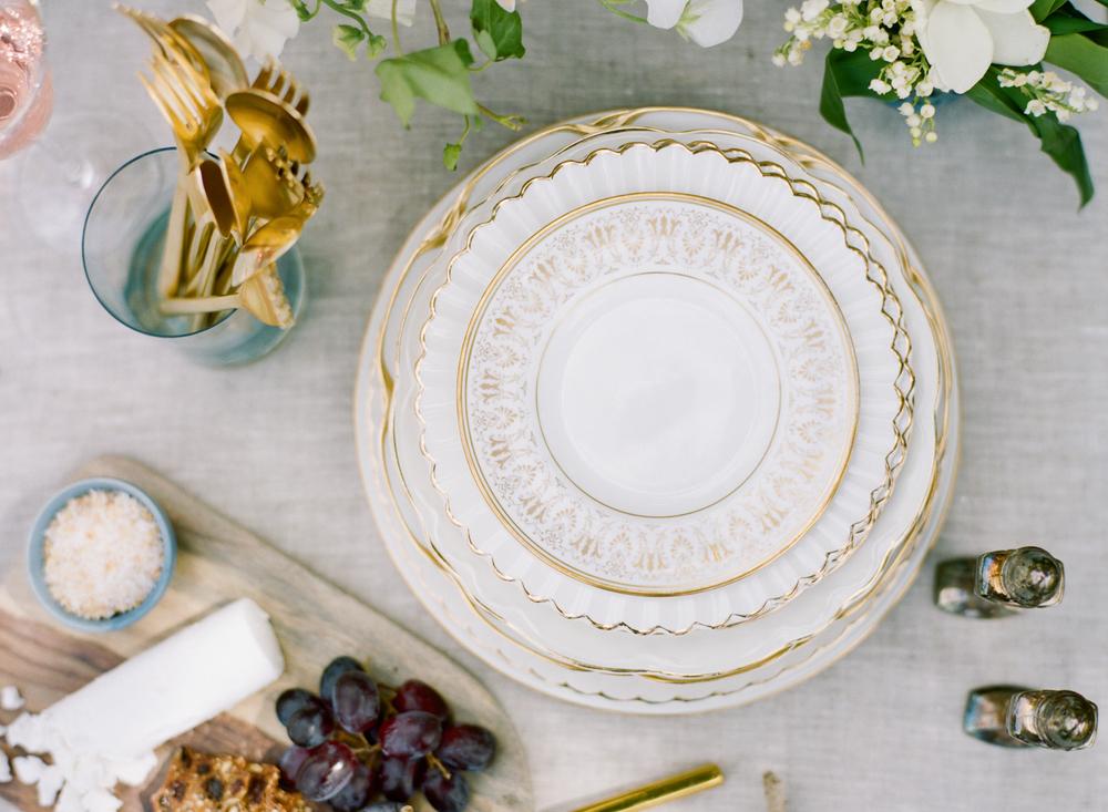Big Love Wedding Design, vintage plates, Toronto Vow Renewal