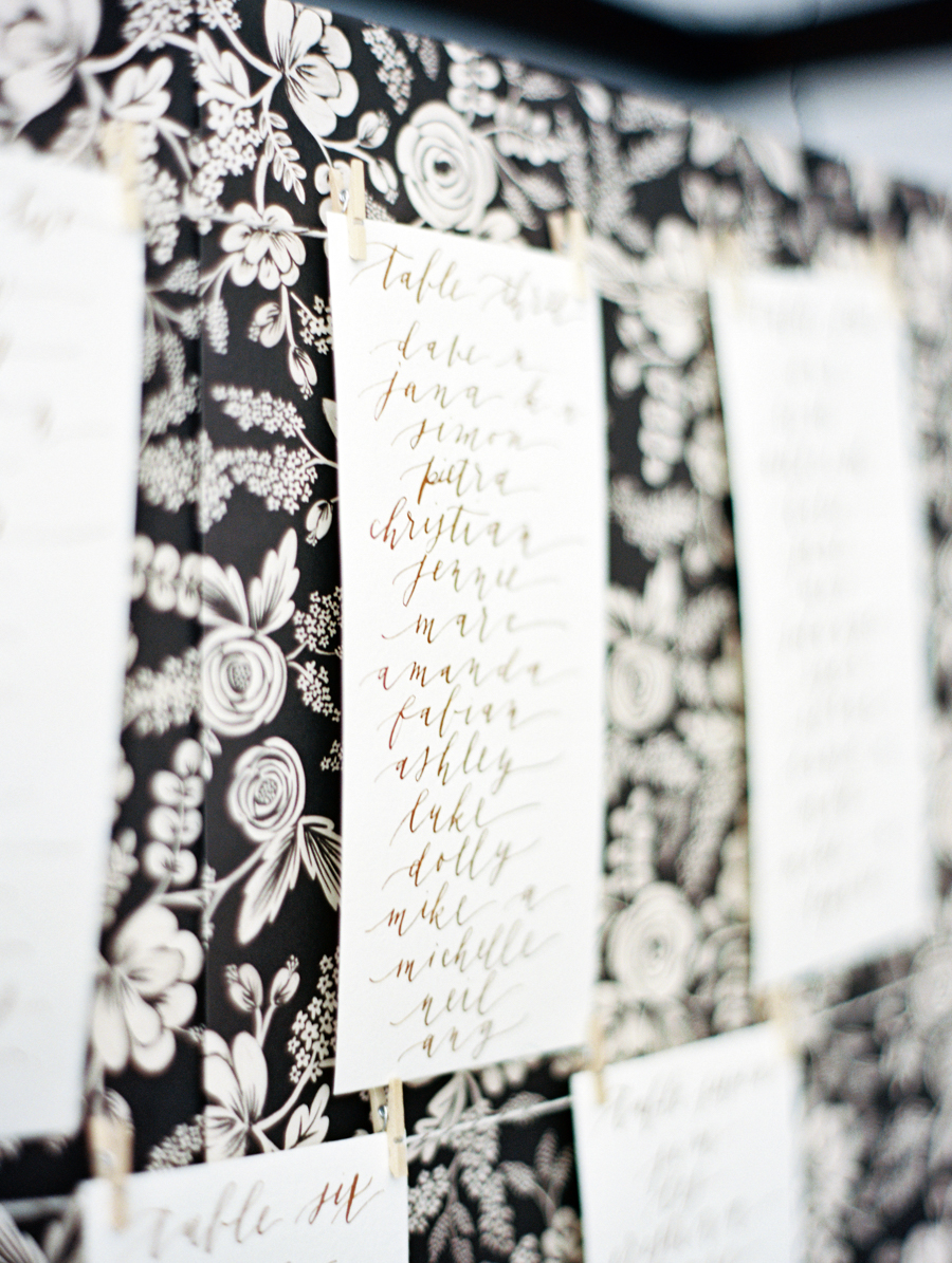 Big Love Wedding Design, Toronto Wedding, Boehmer, diy seating chart, copper calligraphy