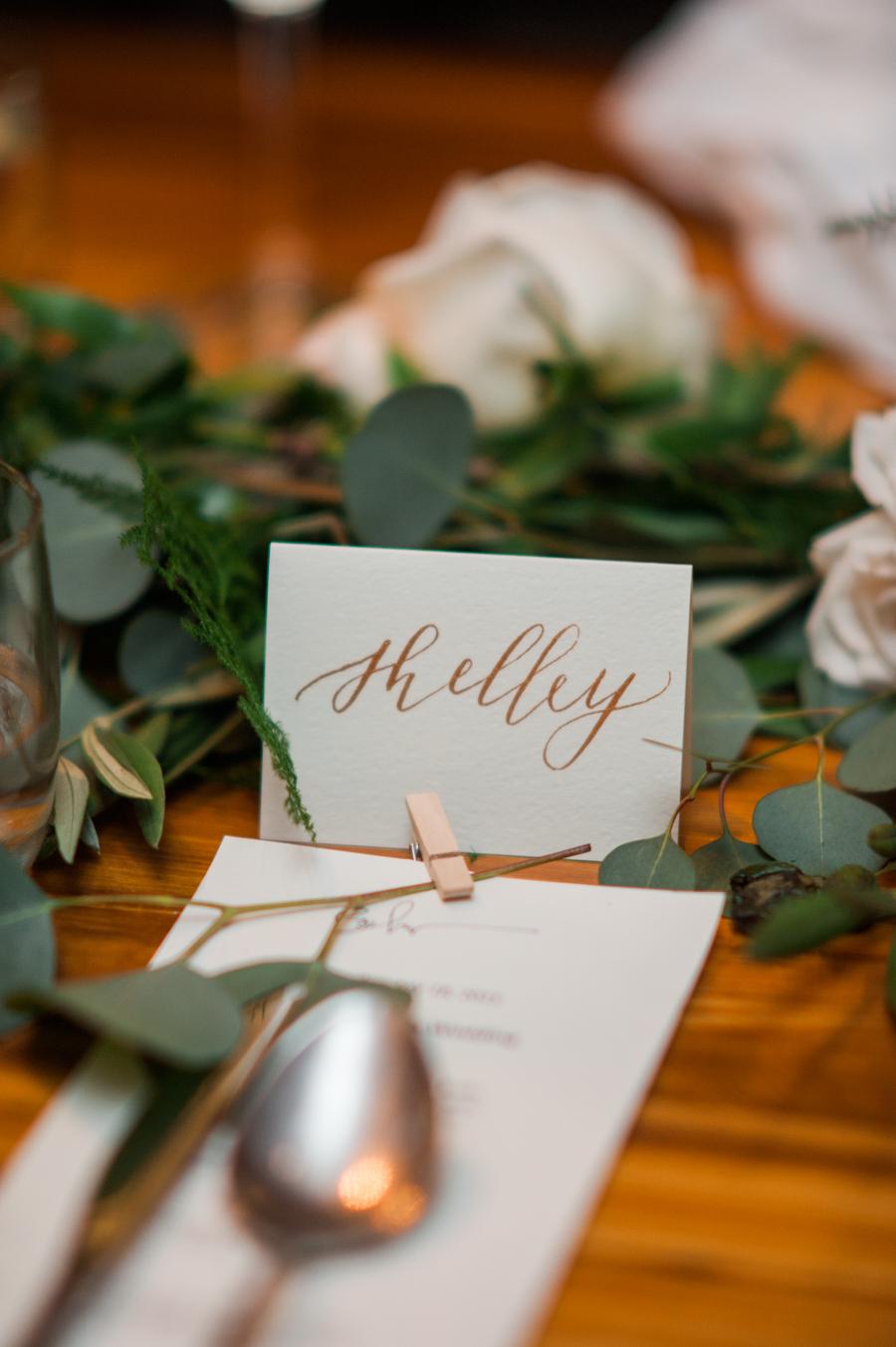 Big Love Wedding Design, Toronto Wedding, Boehmer, copper calligraphy place cards