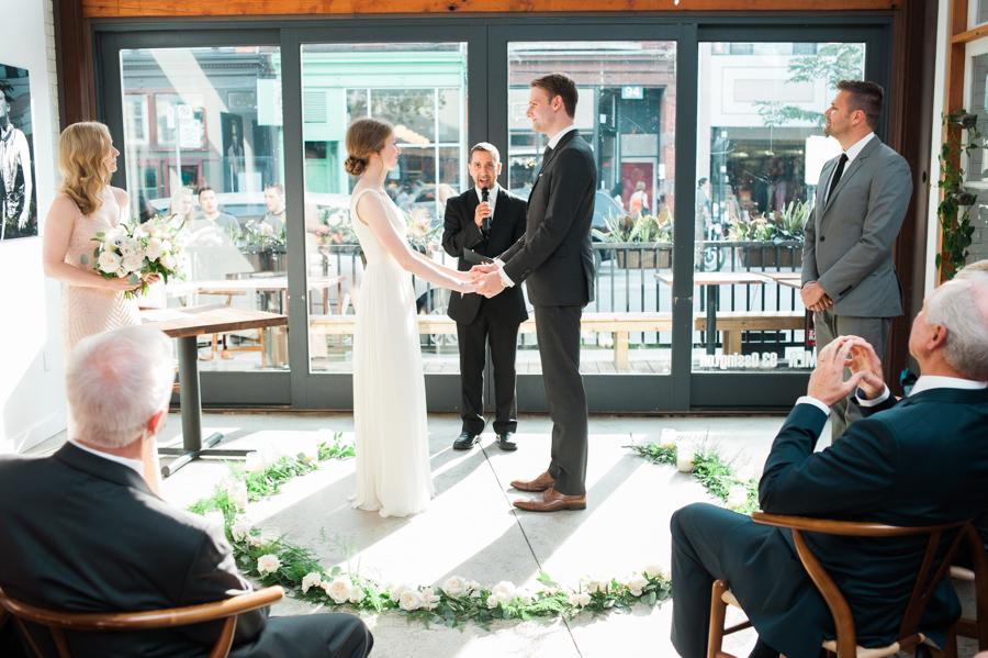 Big Love Wedding Design, Toronto Wedding, Boehmer, intimate restaurant ceremony, greenery garland